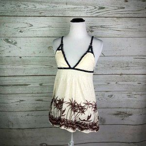Free People Ivory Brown Palm Trees Tank Top Sz S